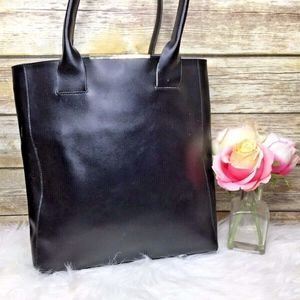 BCBGMaxAzria Black Genuine Leather Tote Bag